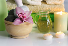 Spa with orchid Royalty Free Stock Image