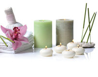 Spa with orchid on white Royalty Free Stock Photos