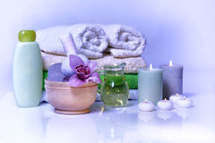 Spa with orchid on white Stock Images