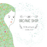 Spa or organic shop banner with girl and nature elements. Stock Images
