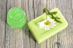 Spa organic soap, cream and salt Royalty Free Stock Image