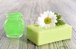 Spa organic soap, cream and salt Stock Photos