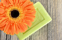 Spa organic soap and flower Royalty Free Stock Images