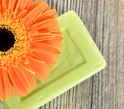 Spa organic soap and flower Stock Image