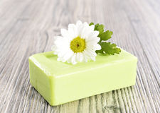 Spa organic soap and flower Royalty Free Stock Photo