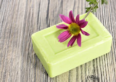 Spa organic soap and flower Stock Photo