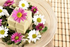 Spa organic soap and flowers Stock Photo