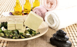 Spa organic soap and massage oil Stock Image