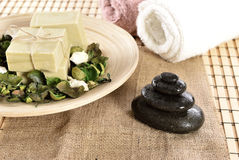 Spa organic soap and massage stones Royalty Free Stock Photo