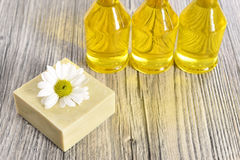 Spa organic soap and oil Stock Photos