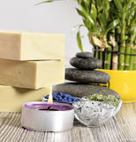 Spa organic soap, stone and candle Stock Image