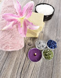 Spa organic soap, stone and candle Stock Photo
