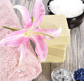 Spa organic soap, stone and candle Stock Photos