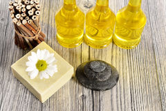 Spa organic soap, stone and oil royalty free stock images