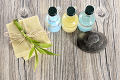 Spa organic soap, stone and oil stock images