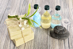 Spa organic soap, stone and oil royalty free stock photography