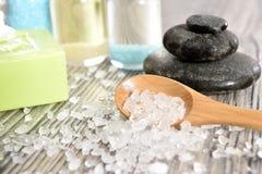 Spa organic soap, stone and salt. Zen relaxation concept. Spa organic soap, stone, oil and salt Stock Photos