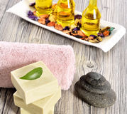 Spa organic soap, stone and towel Royalty Free Stock Photography