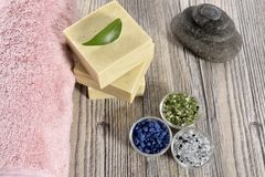 Spa organic soap, stone and towel Stock Image