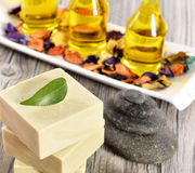 Spa organic soap, stone and towel Stock Images