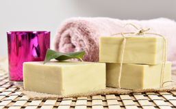 Spa organic soap, towel and candle Stock Photo