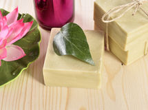 Spa organic soap, towel and candle Royalty Free Stock Photo