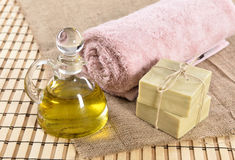 Spa organic soap, towel and oil Stock Image