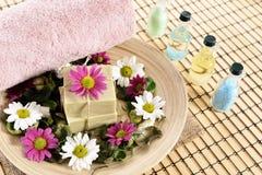 Spa organic soap, towel and salt Stock Photos