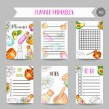 Spa organizer Hand drawn cosmetics and aromatherapy planner. Wellness center notesr. Cartoon sketch of natural cosmetic. Beauty items Vector Illustration Stock Image