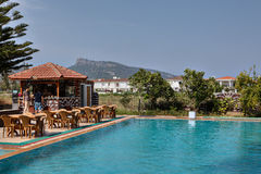 Spa outdoor swimming pool with bar, at a small hotel. Stock Photos