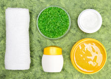 Spa and pampering natural cosmetic products with towel Stock Photo
