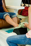 Spa pedicure at nail salon Royalty Free Stock Photography