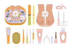 Spa Pedicure Set. Vector Illustration Royalty Free Stock Photo