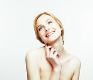 Spa picture attractive happy smiling lady young red hair isolated on white close up, lifestyle people concept. Spa picture attractive happy smiling lady young Stock Photography