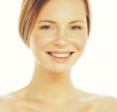 Spa picture attractive happy smiling lady young red hair isolated on white close up, lifestyle people concept. Spa picture attractive happy smiling lady young Royalty Free Stock Images