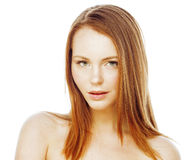 Spa picture attractive happy smiling lady young red hair isolated on white close up, lifestyle people concept. Spa picture attractive happy smiling lady young Royalty Free Stock Photo