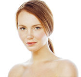 Spa picture attractive happy smiling lady young red hair isolated on white close up, lifestyle people concept. Spa picture attractive happy smiling lady young Stock Image