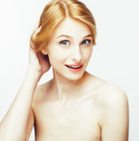 Spa picture attractive happy smiling lady young red hair isolated on white close up, lifestyle people concept. Woman healthcare Stock Image