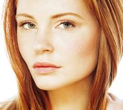 Spa picture attractive lady young red hair isolated on white clo. Seup, lifestyle people concept Stock Image