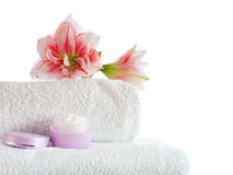 Spa with pink flowers Stock Photography