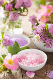 Spa with pink herbal salt and wild rose flower clover Stock Image