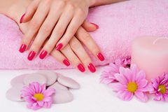 Spa pink manicure Royalty Free Stock Photo