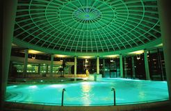 Spa pool dome. Night shot of a luxury spa pool dome stock images