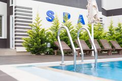 Spa pool with trees Stock Photography