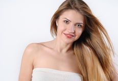Spa portrait of beautiful smiling blonde woman Royalty Free Stock Photography