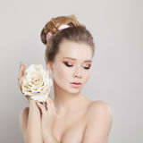 Spa Portrait of Beautiful Woman with Blonde Hair Stock Photo