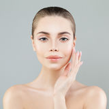 Spa Portrait of  Healthy Model Woman with Fresh Skin. Facial Treatment, Aesthetic Medicine and Cosmetology Royalty Free Stock Photos