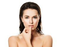 Spa Portrait of Healthy Woman. Wet Clear Skin after Bath royalty free stock photos