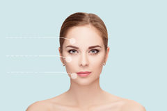 Spa portrait of young, beautiful woman with dotted arrows on fac Royalty Free Stock Photos