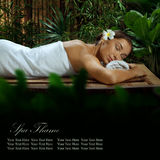 Spa. Portrait of young beautiful woman in spa environment. Banner, extra space for your text Stock Images
